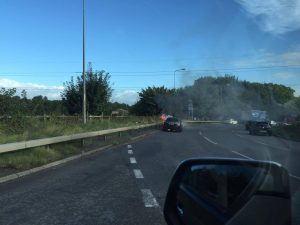 Car On Fire Lymm Roundabout