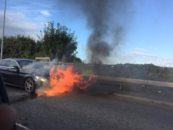 Car Fire - Lymm Roundabout