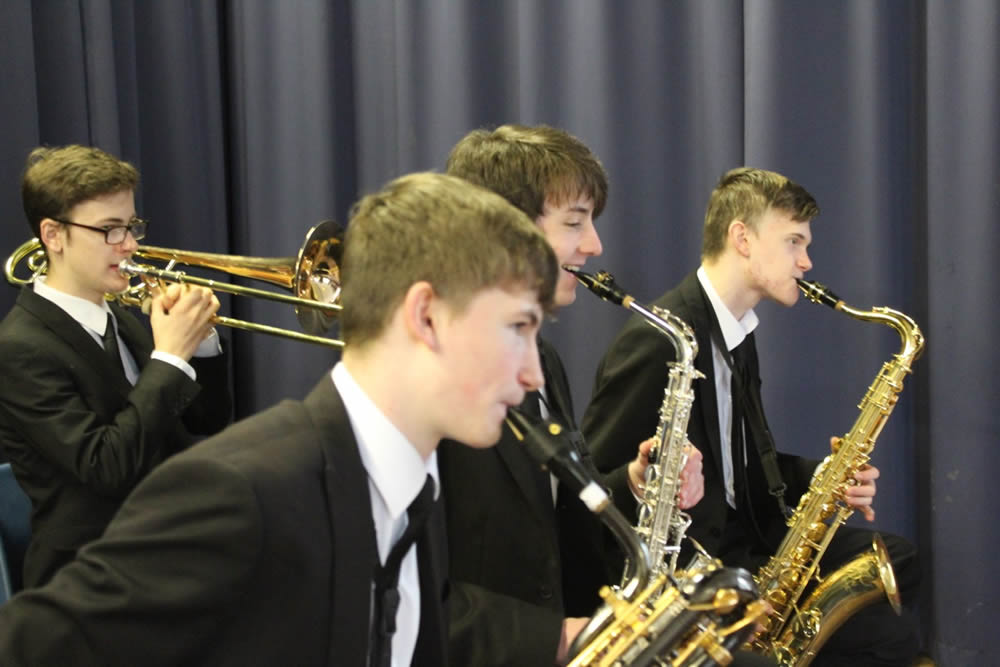 Swing Band pic 2 left to right Dylan Morris Ben Cottrell Milo MacDonald and James Cottrell